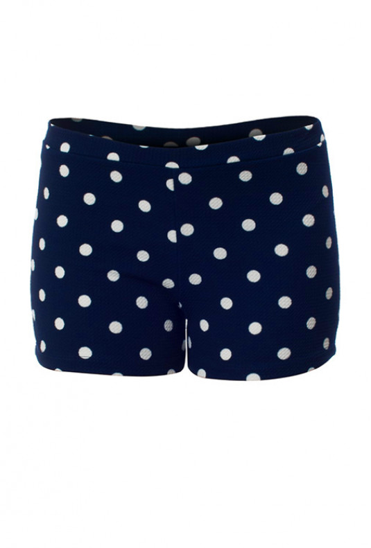 navy high waist polka dot shorts