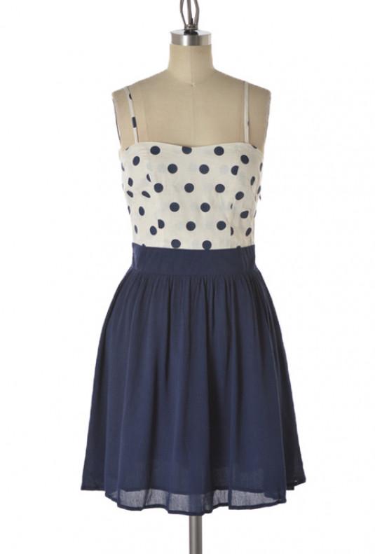 Navy Polka Dot Sweetheart Dress