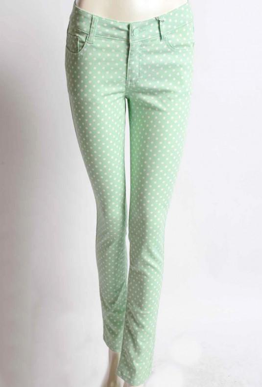 Pastel green Polka Dot Skinny Jeans