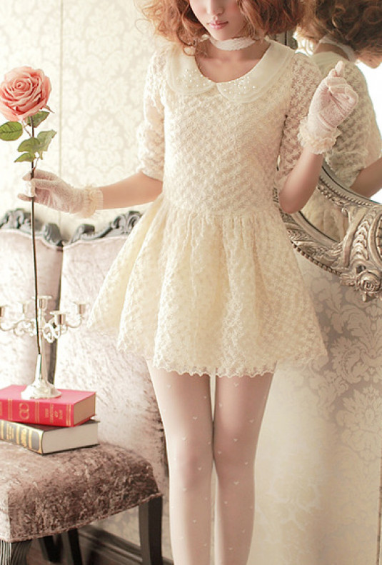 3/4 Sleeve Floral Lace Mini Dress