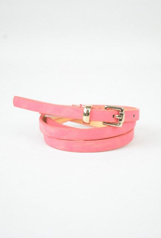 pink suede skinny belt