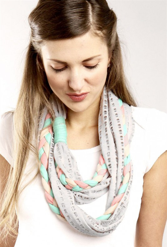 Tri-Color Braid Infinity Scarf