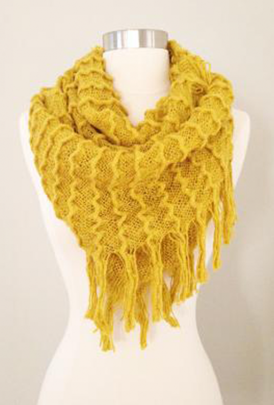 Mustard Yellow Scarf - Common Interests Fringe Trim Infinity Scarf