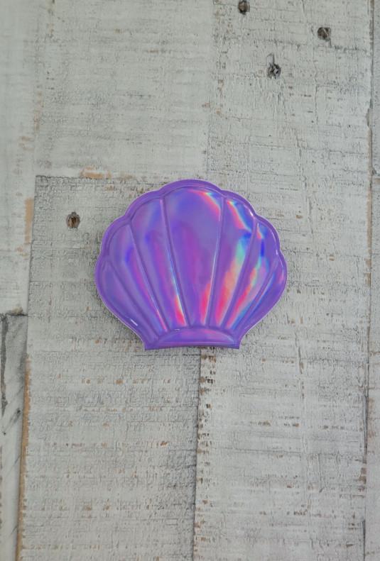 Seashell Compact Mirror in Purple