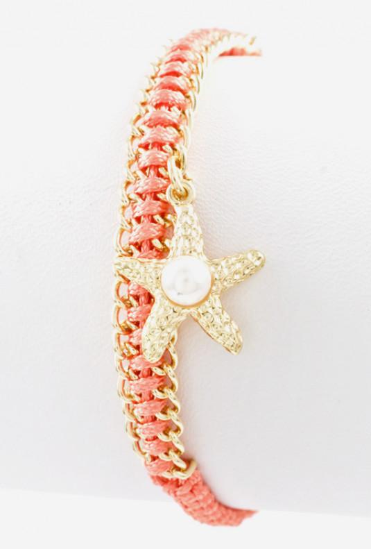Bracelet - Sunken Treasure Starfish Pearl Braided Bracelet in Coral