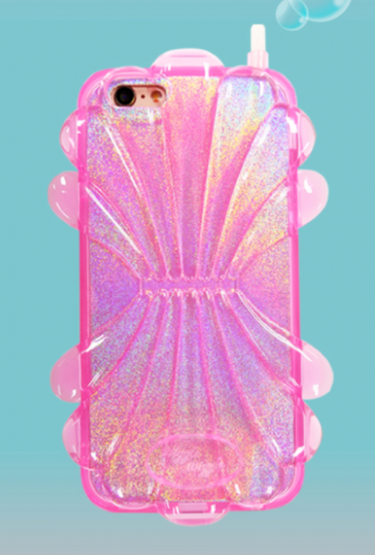 Shellfish Holographic Cell Phone Case in Pink