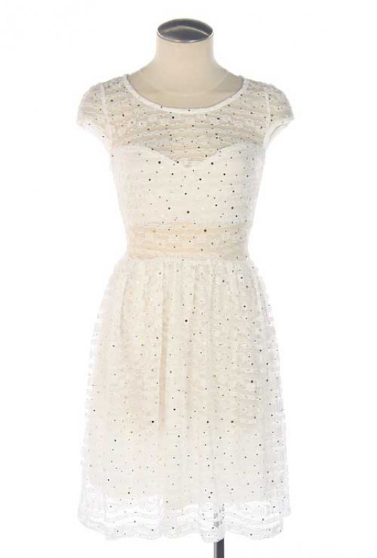 white Cap Sleeve Sequin Lace Dress