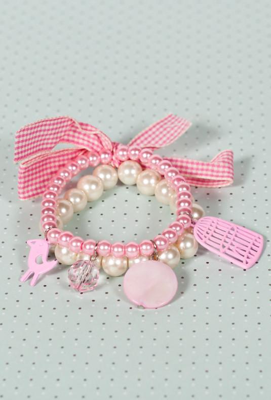 Bracelet - Songbird's Tweet Pearl Bracelet in Pink Duet