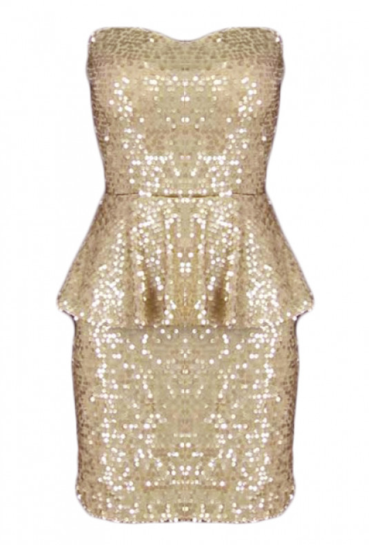 Gold Sequin Sweetheart Peplum Dress