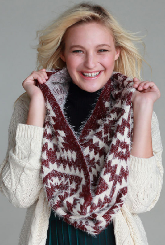 Navajo Pattern Fuzzy Scarf in Burgundy