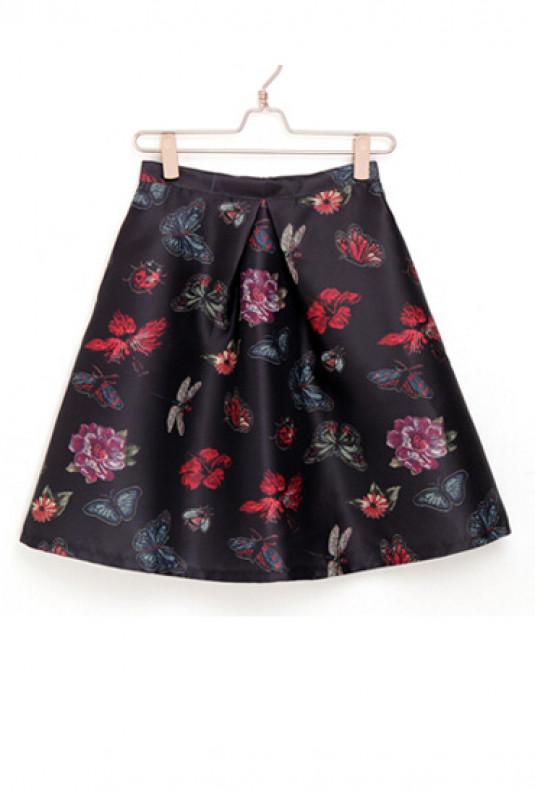 Black Butterfly Print Skater Skirt