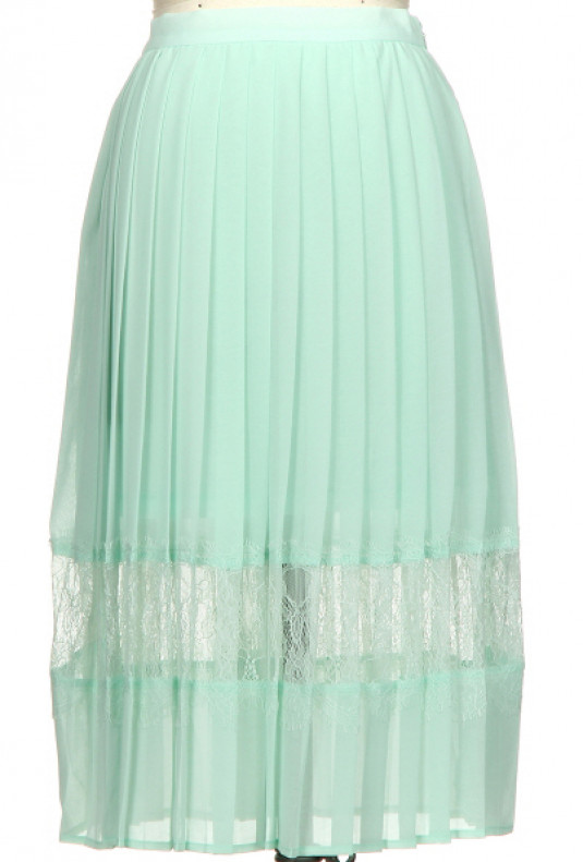 mint Spring Enchantment Accordion Pleat Lace Insert Midi Skirt