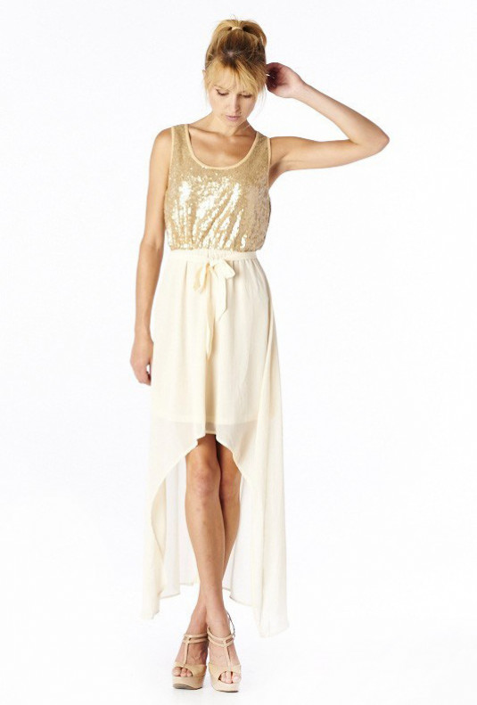 c347044f8 Dress - Stardust Goddess Sequin Accent High Low Dress in Gold/Cream ...