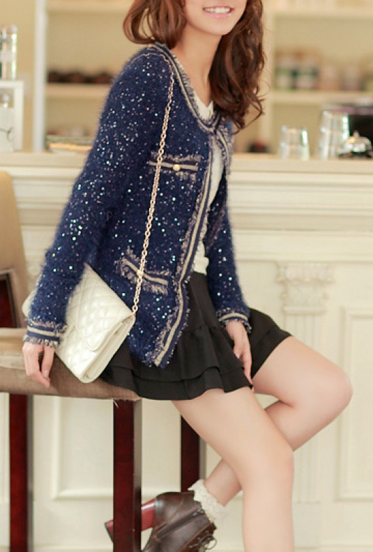 Glittery Plush Knit Cardigan