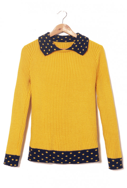 Contrast Mustard/Navy Turn Collar Rib Knit Sweater