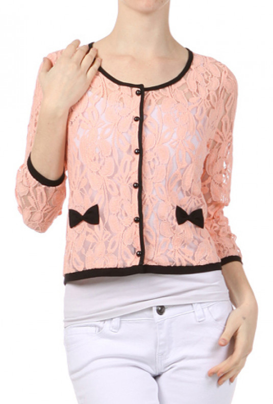 pink Lace Embroidered Cardigan