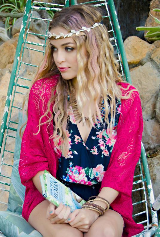 Lace Kimono Cardigan in Fuchsia