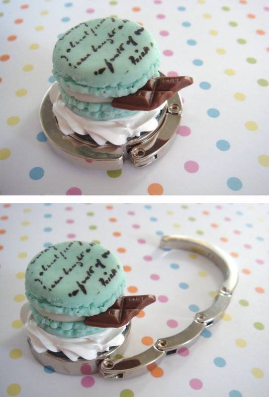 Purse Hanger - Sweet Confections Mint Macaron With Chocolate Purse Hanger