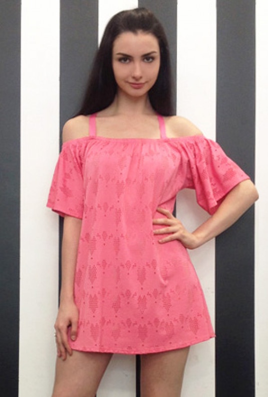 Pink Cold Shoulder Eyelet Dress