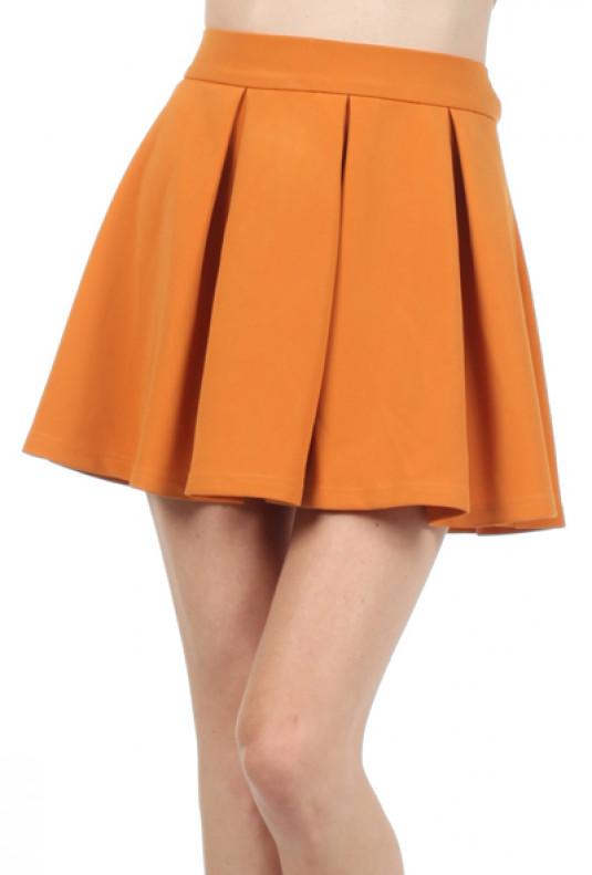 mustard Pleated Skater Skirt