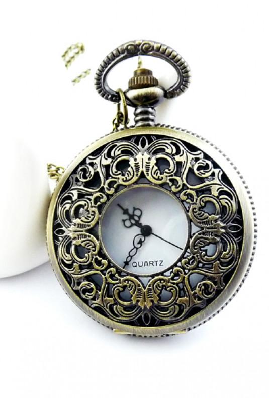 Time After Time Vintage Ornate Pocket Watch Necklace