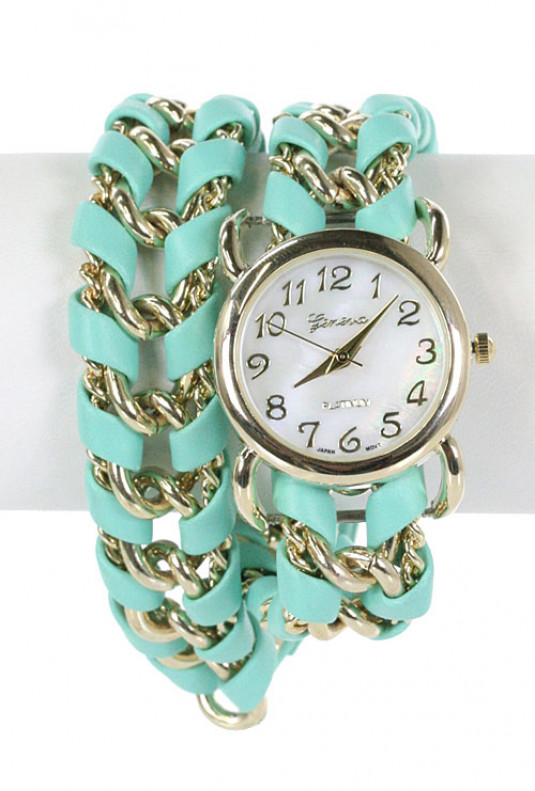 Bracelet - Timely Manner Twist Chain Bracelet Wrap Watch in Mint