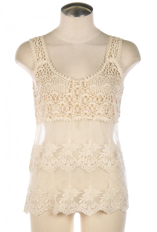 Top - Treehouse Romance Floral Crochet Mesh Top