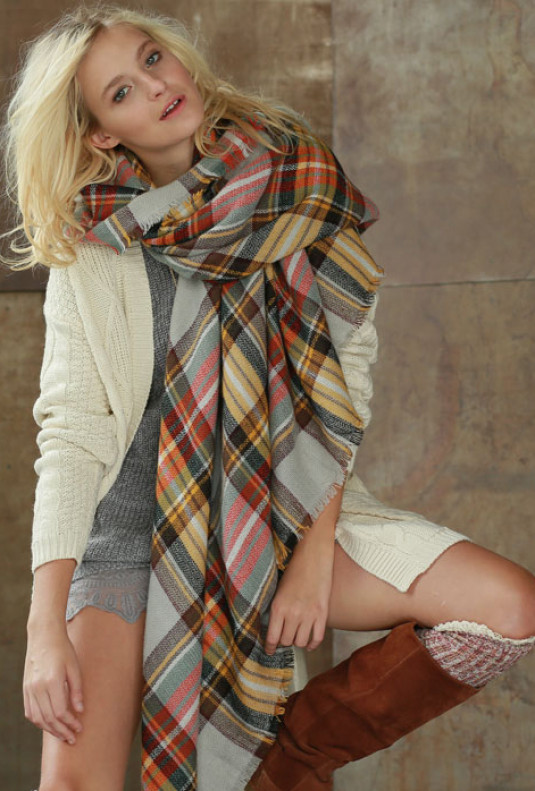 mustard plaid oversized blanket scarf