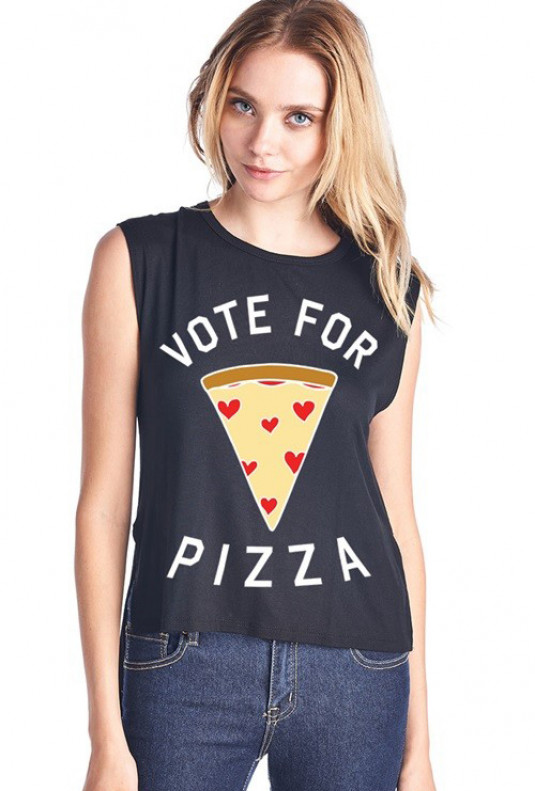 Vote for Pizza Muscle Tank Black