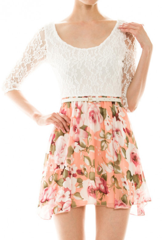 3/4 Sleeve Lace and Floral Print Dress