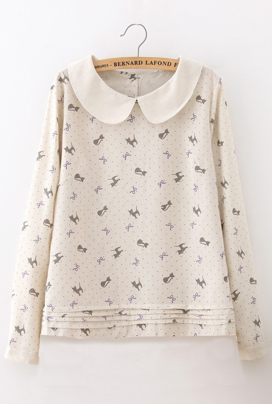 61c67e00bd0f8 Meow Purrfection Cat Print Peter Pan Collar Blouse in Cream ...