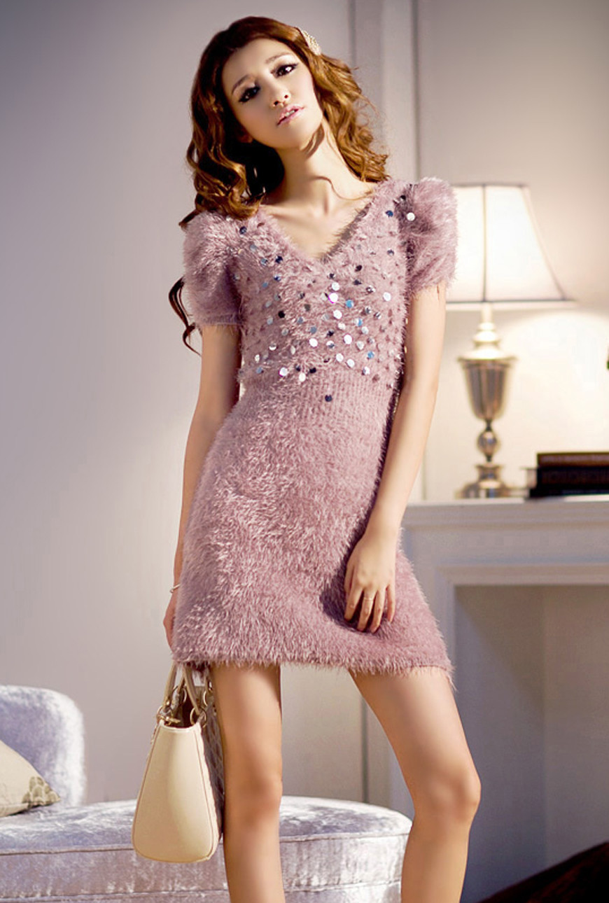 035ca5ef58dc Dress - Midnight Kiss Furry Sequin Mini Dress in Mauve | Sincerely ...
