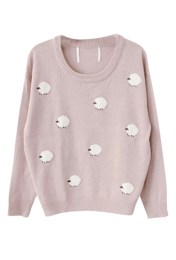 Sweater , Nursery Rhymes Pale Pink Sheep Pattern Oversized Sweater