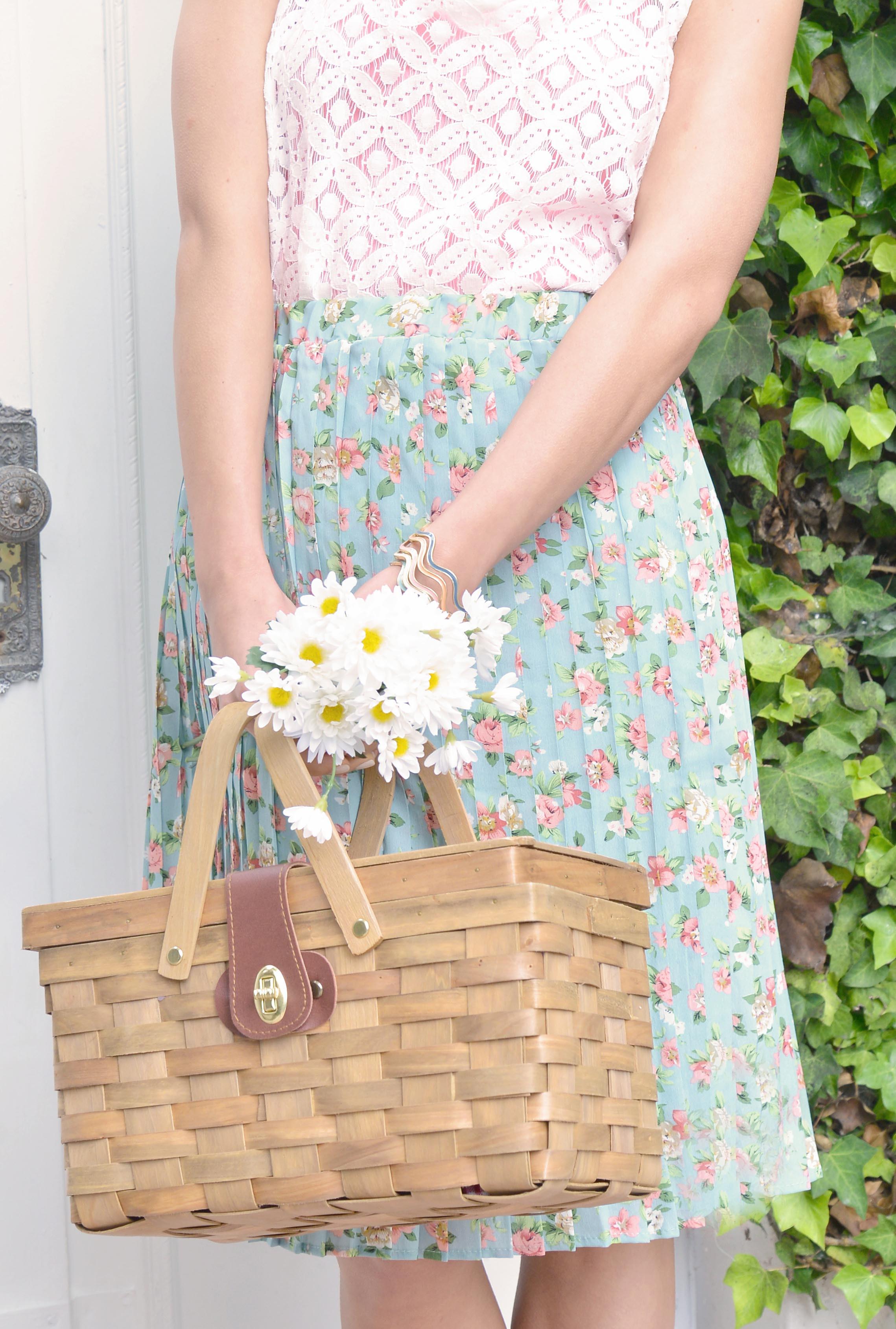 1115581db5 Skirt - Spring Sonnet Floral Accordion Pleat Midi Skirt in Hazy Blue