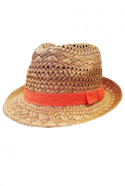 Hat - Ocean Breeze Open Weave Straw Fedora Hat with Ribbon Trim in Tangerine