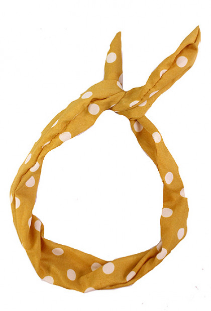 Head Piece - Retro Bliss Polka Dot Print Wired Headband Sunflower Yellow