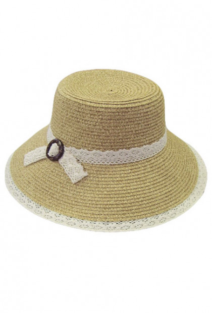 Hat - My Fair Lady Lace Trim Straw Wide Brim Sun Hat in Natural