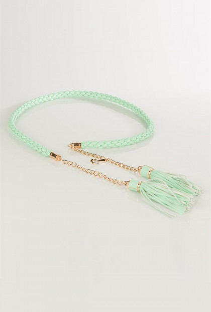 Curated Fixture Braided Belt with Chain and Tassels in Mint