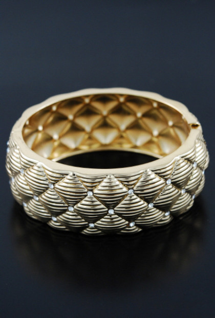 Arm Candy Quilted Rhinestone Embossed Bangle in Gold
