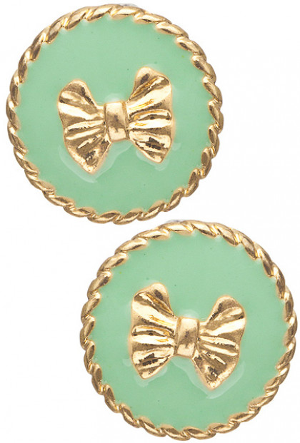 Earrings- Charm School Round Twist Trim Bow Stud Earrings in Mint