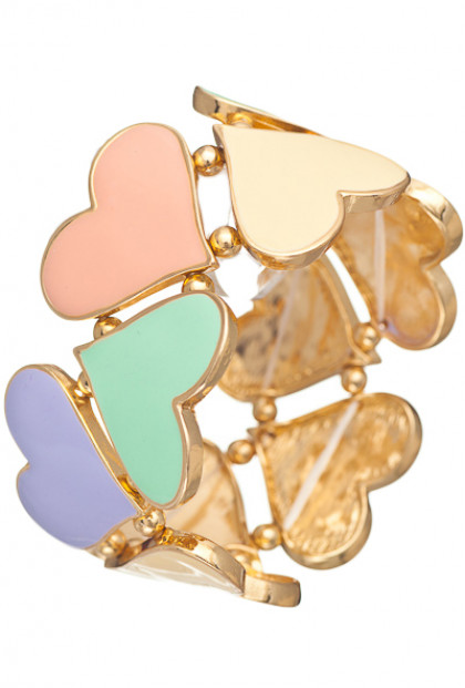 Bracelet - Hugs and Kisses Heart Cutout Stretch Bracelet In Multicolor