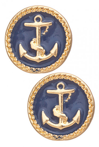 Earrings - Ship Ahoy Round Anchor Pendant Earrings in Navy