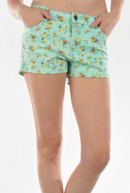 Shorts - Spring Foliage Floral Print Mint Shorts
