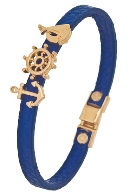 Bracelet - Set Sail Nautical Charm Leather Bracelet in Navy