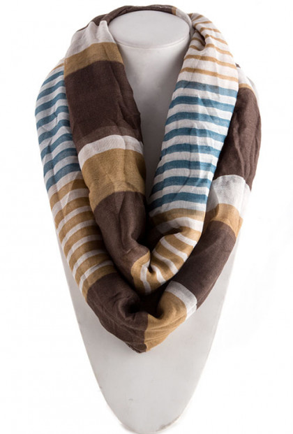 Scarf - Urban Vocabulary Multi-Stripe Brown Infinity Scarf