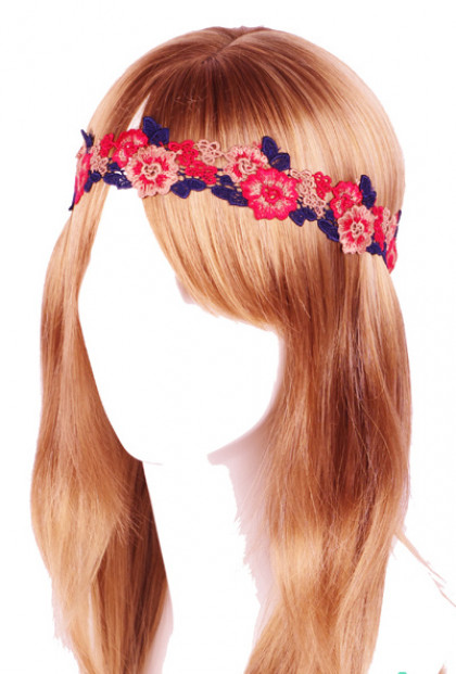 Head Piece - Forest Nymph Embroidered Floral Patch Headband Magenta