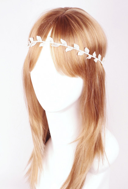 Head Piece - Mystic Goddess Grecian Laurel Leaf Headband Ivory