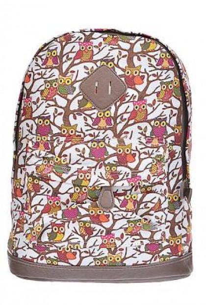 Backpack - Hoot Hoot Hooray Owl Print Canvas Ivory Backpack