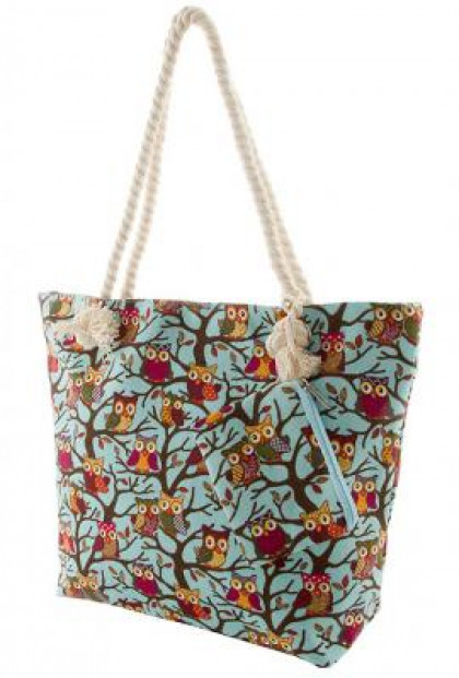 Owl Print Oversize Blue Canvas Tote