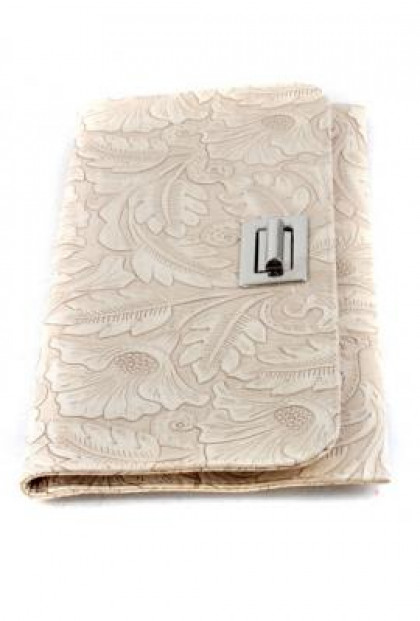 Nouveau Abstraction Floral Foliage Flat Ivory Clutch